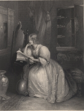 """""""Rosina,"""" designed by William Boxall and engraved by J. C. Edwards. Illustration for """"The Invisible Girl"""" by Mary Wollstonecraft Shelley. The Keepsake for 1833. University of Victoria Libraries Special Collections, AY13 K4 1833. Image by Caroline Winter, taken on 17 Nov. 2017."""